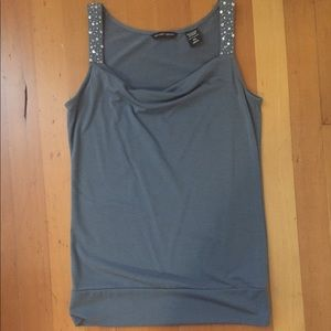 Blue gray drape-neck sequined strap tank, XS
